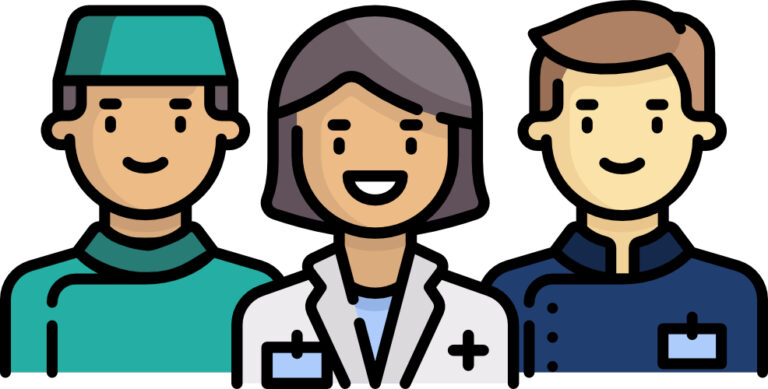 Clipart image of a male surgeon, a female doctor and and a male matron