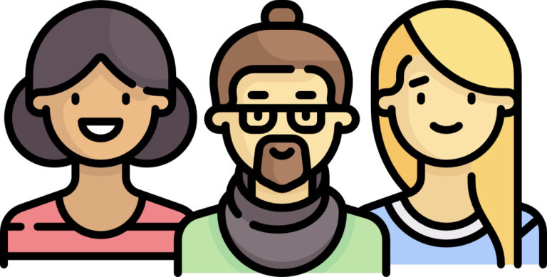 Clipart image of a two women and a man.